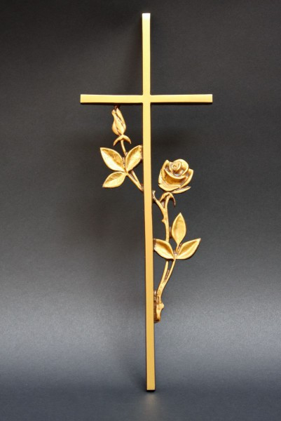 goldfarbenes Rosen Kreuz für eine Grabstelle