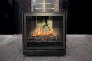 Kamin mit elektrischem Feuer für die Gästeresidenz Pelikan in Hannover