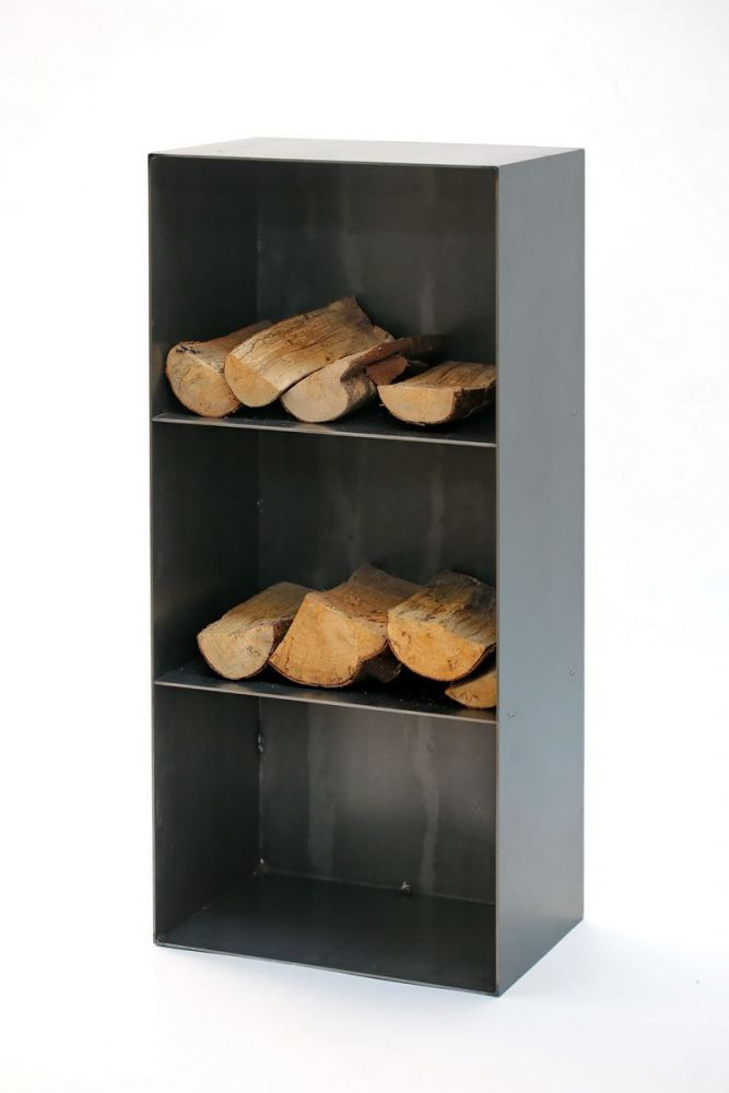 kaminholzregal mit r ckwand aus stahl. Black Bedroom Furniture Sets. Home Design Ideas
