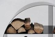 rundes Kaminholzregal aus Zunderstahl