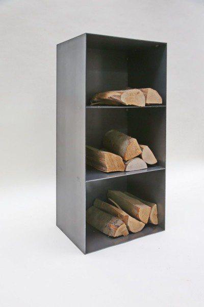 kaminholzregal aus rohstahl. Black Bedroom Furniture Sets. Home Design Ideas