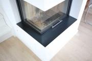 Kaminumrandung aus klar lackiertem 3mm Stahlblech