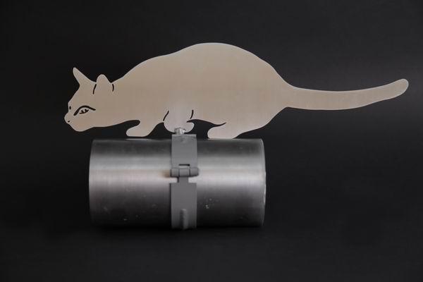 Katze aus Edelstahlblech gelasert