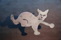 Katzenskulptur aus plasmagetenntem Stahl