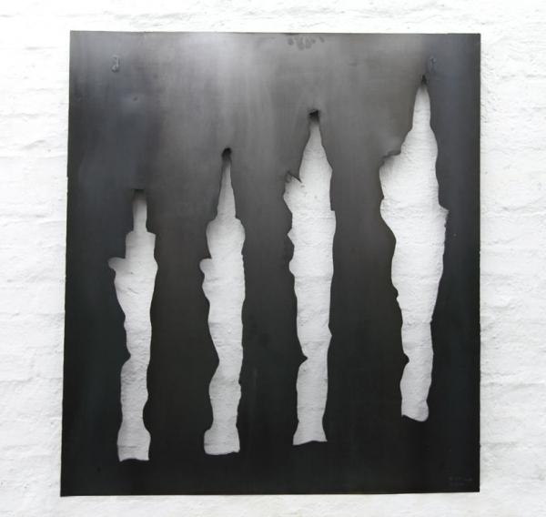 Wandskulptur - wandhängende Kavernenskulptur aus Stahlblech mit dem Plasmatrenner ausgeschnitten