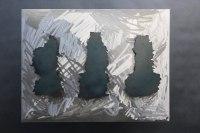 wandhängende Kavernen Skulptur  aus Stahlblech
