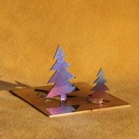 Klapp Tannenbäume aus geschliffenem und flammoxidiertem Edelstahl im Dreierpack