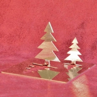 Klapp Tannenbäume aus poliertem Edelstahl im Dreierpack
