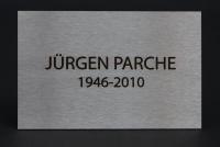 Edelstahl Grabplatte mit Anlassbeschriftung