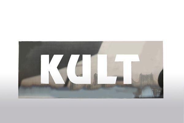 Kult - Schild aus 3 mm Stahlblech gelasert.