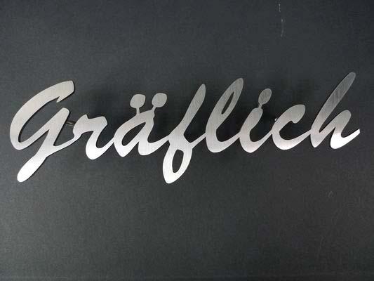 Namensschild aus geschliffenem Edelstahl