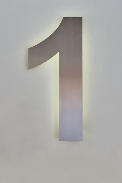 """Mit LED hinterleuchtete Hausnummer """"1"""""""