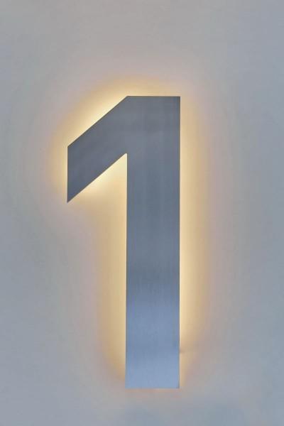 "Hausnummer ""1"" aus Edelstahl mit LED-Beleuchtung"
