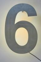 Hausnummer aus Edelstahl mit LED