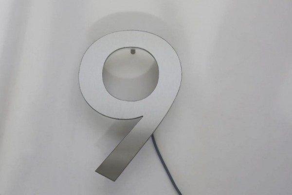 """LED Hausnummer """"9"""" aus Edelstahl"""