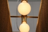Leuchte aus Perlenschnur oder Kugelkette, Stahl mit Schlagmetall vergoldet