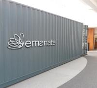 Das Logo für emanate aus Edelstahl gelasert