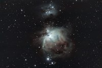 Orion und running man mit einem UHC Filter aufgenommen