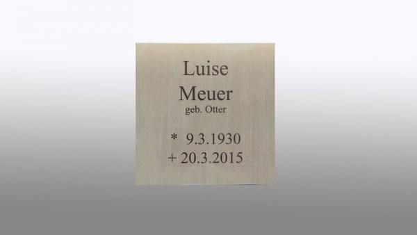 anlassbeschriftete Grabplatte aus 3 mm Edelstahl