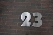 Hausnummer 23 aus Edelstahl gelasert