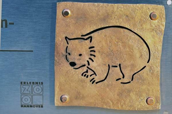 Schild Nacktnasen Wombat