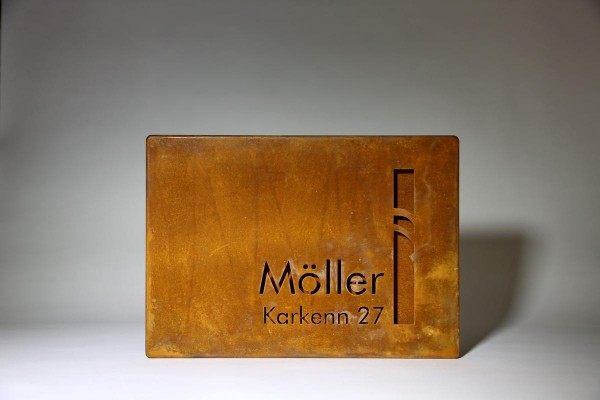 Namensschild  aus 2 mm Corten Stahl gelasert