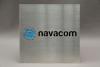 Firmenschild aus Edelstahl gelasert und farbig hinterlegt