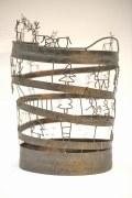 Papierkorb mit König, Tannenbaum, Hirschen und anderen Figuren aus Stahl