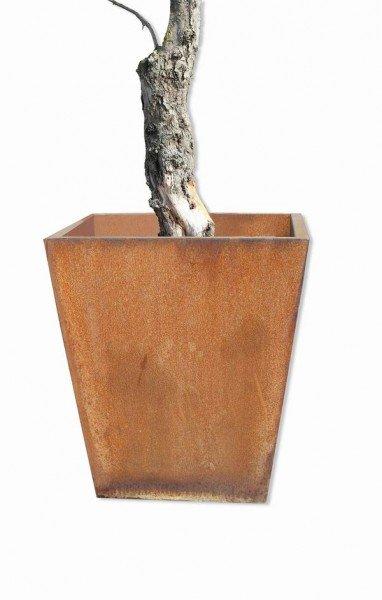 Beeindruckendes, rostiges Pflanzgefäß aus 3 mm Stahl