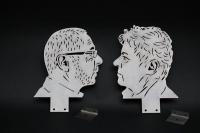2 gelaserte Portraits aus Stahlblech