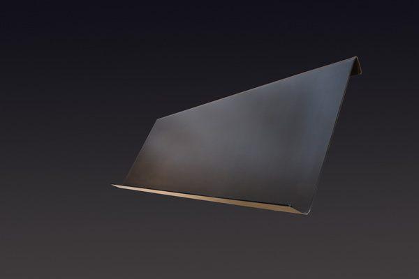 1 Meter breiter wandhängender Prospekthalter aus 3 mm Zunderstahl