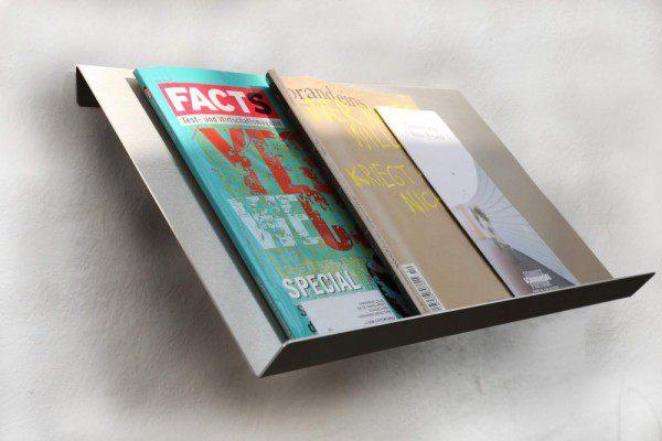 wandhängender Prospekthalter aus 2mm Edelstahl