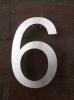 Hausnummer 6 aus 3 mm Edelstahl gelasert