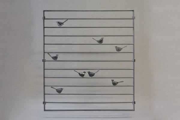 Fenstergitter mit 8 Stück kleinen Stahlvögeln