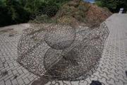 Doppelwandige Schale als Gartenskulptur aus 6 mm Stahl hergestellt