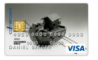 Kreditkarte mit einer Abbildung einer Skulptur von Peter Schmitz, ein Projekt von Cornèrcard Art Collection und Artoffer.com