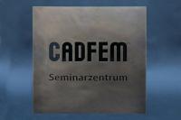 """Schild """"CADFEM"""" aus  Messing mit auslackierter Gravur"""