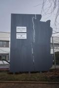 Firmenschild Schild aus Stahl  mit einer Kavernenkontur für die SOCON SONAR CONTROL Kavernenvermessung GmbH in Emmerke.