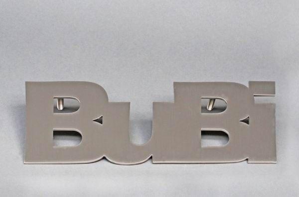 """Schriftzug """"Bubi"""" aus Edelstahl"""