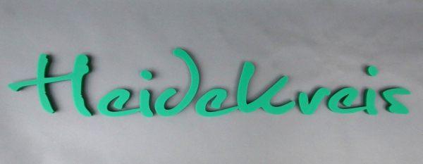 Schriftzug für den Landkreis Heidekreis aus Acrylox lasergeschnitten