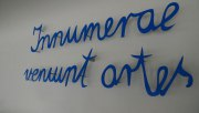 """Schriftzug, """"Innumerae veniunt artes"""" aus Edelstahl"""