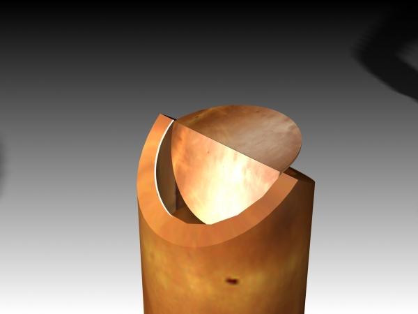 Schwingdeckelascher aus CuZn 15 (Tombak)