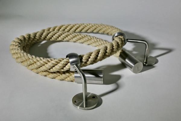 Handlauf Seil mit Edelstahl Haltern und Abschlüssen