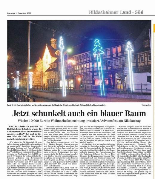 Artikel der HAZ  vom 1.12.2009
