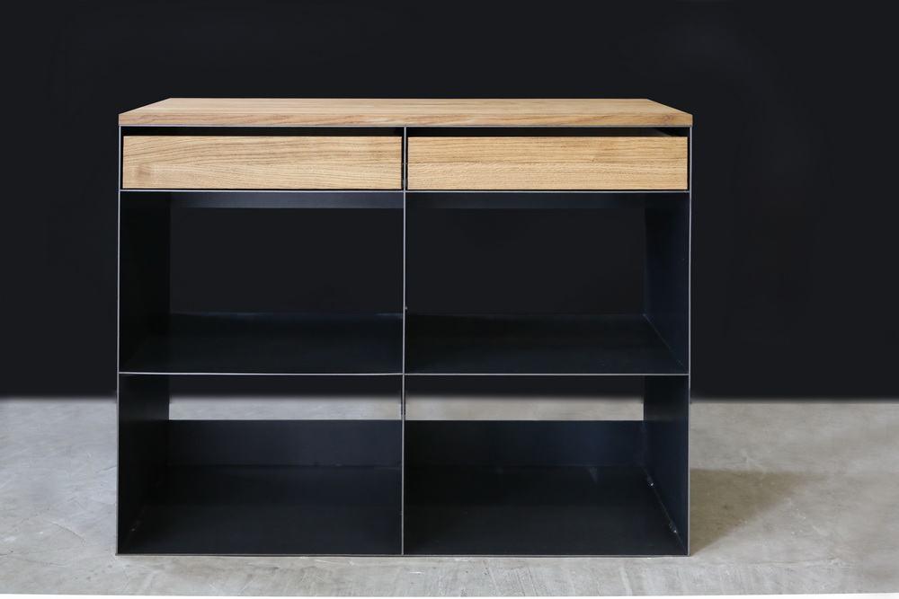 sideboard aus stahl abdeckung und schubladen aus eiche. Black Bedroom Furniture Sets. Home Design Ideas
