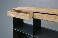 Sideboard aus Stahl, Schubladen & Abdeckung aus Eiche