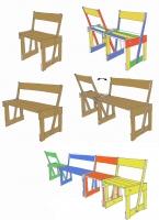 Farbige Sitzbänke deren Rückenlehne beweglich ist