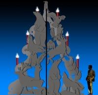 Entwurf einen riesigen Metall Tannenbaum mit Tieren