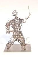 kniende Draht Skulptur aus Stahl Draht