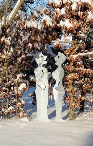 """""""Gespräch im Schnee""""...Skulpturen aus verzinktem Stahlblech"""